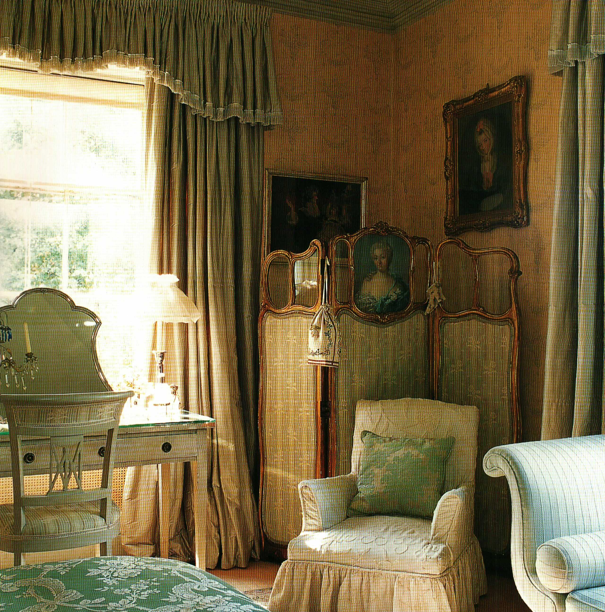 English Country Bedroom english country bedroom with silk curtains | style: english