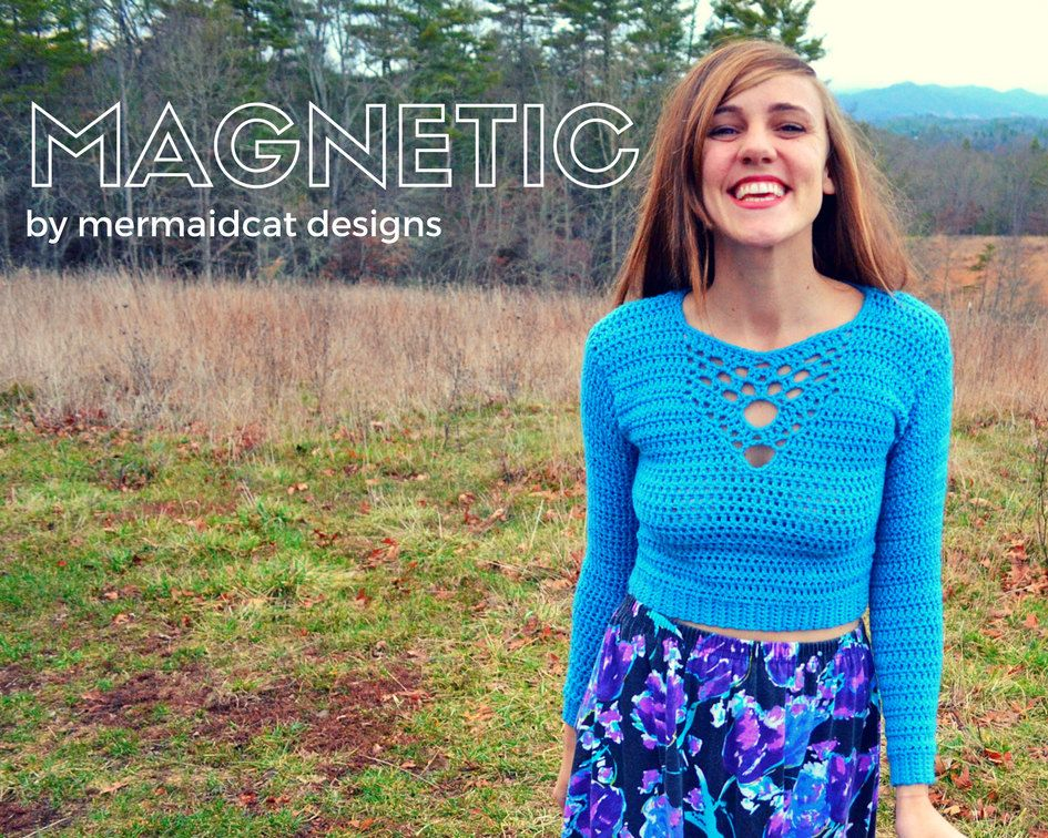 Crochet crop top sweater pattern with detailed neck -Magnetic ...