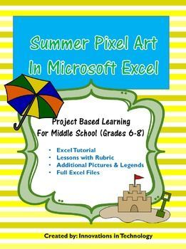 summer pixel art in microsoft excel or google sheets microsoft