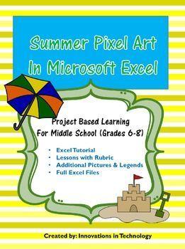 summer pixel art in microsoft excel or google sheets pinterest