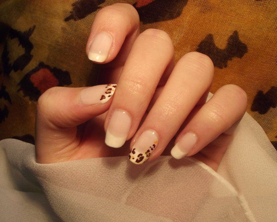Sweet Clean White With Slightly Cheetah Motif Nail Art Design ...