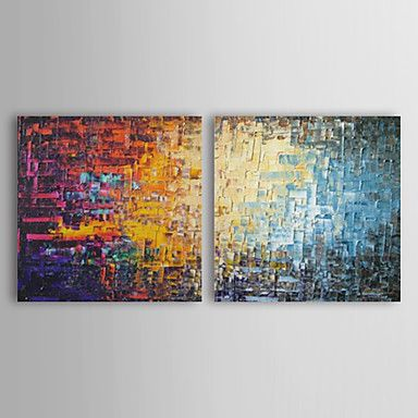 Hand+Painted+Oil+Painting+Abstract++Square+with+Stretched+Frame+Set+of2+–+GBP+£+52.82