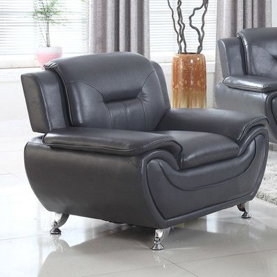 Latitude Run Bergenfield Modern Living Room Armchair Upholstery: Black