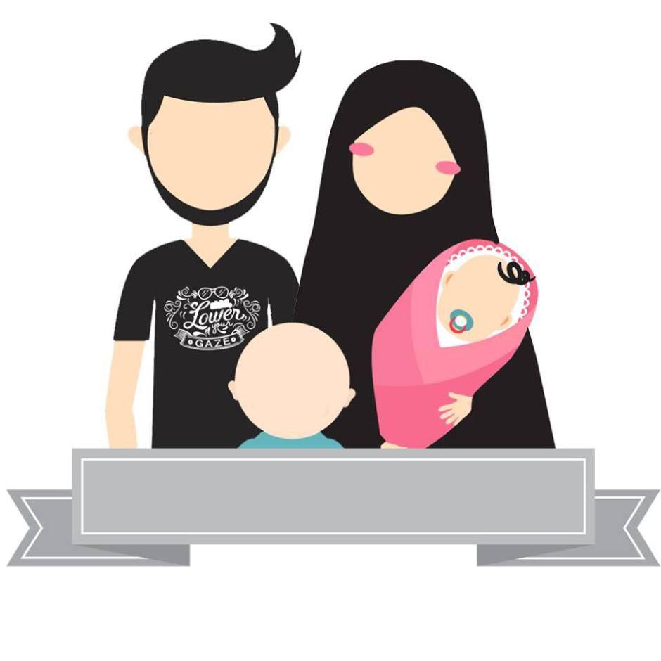 Download Gratis 24 Desain Avatar Muslim Dan Muslimah Versi Lengkap Lukisan Keluarga Kartun Animasi