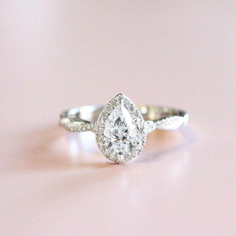 Petite Twisted Vine Halo Diamond Engagement Ring