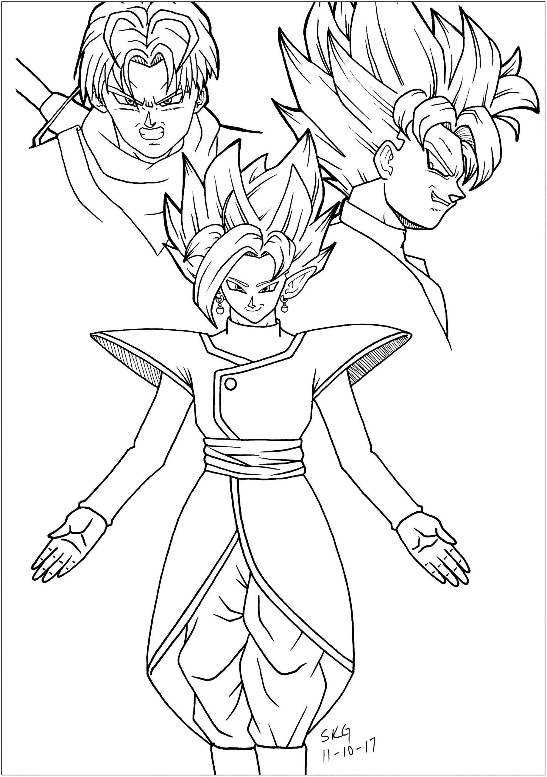 Dragon Ball Z Coloring Pages Black Goku Trunks And Zamasu Dragon Ball Z Kids Coloring Dragon Coloring Page Super Coloring Pages Cartoon Coloring Pages
