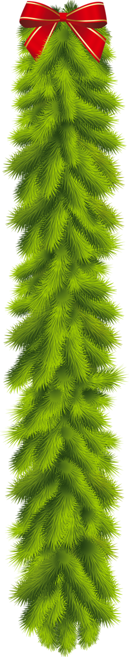 Transparent Christmas Pine Garland with Red Bow Clipart ...