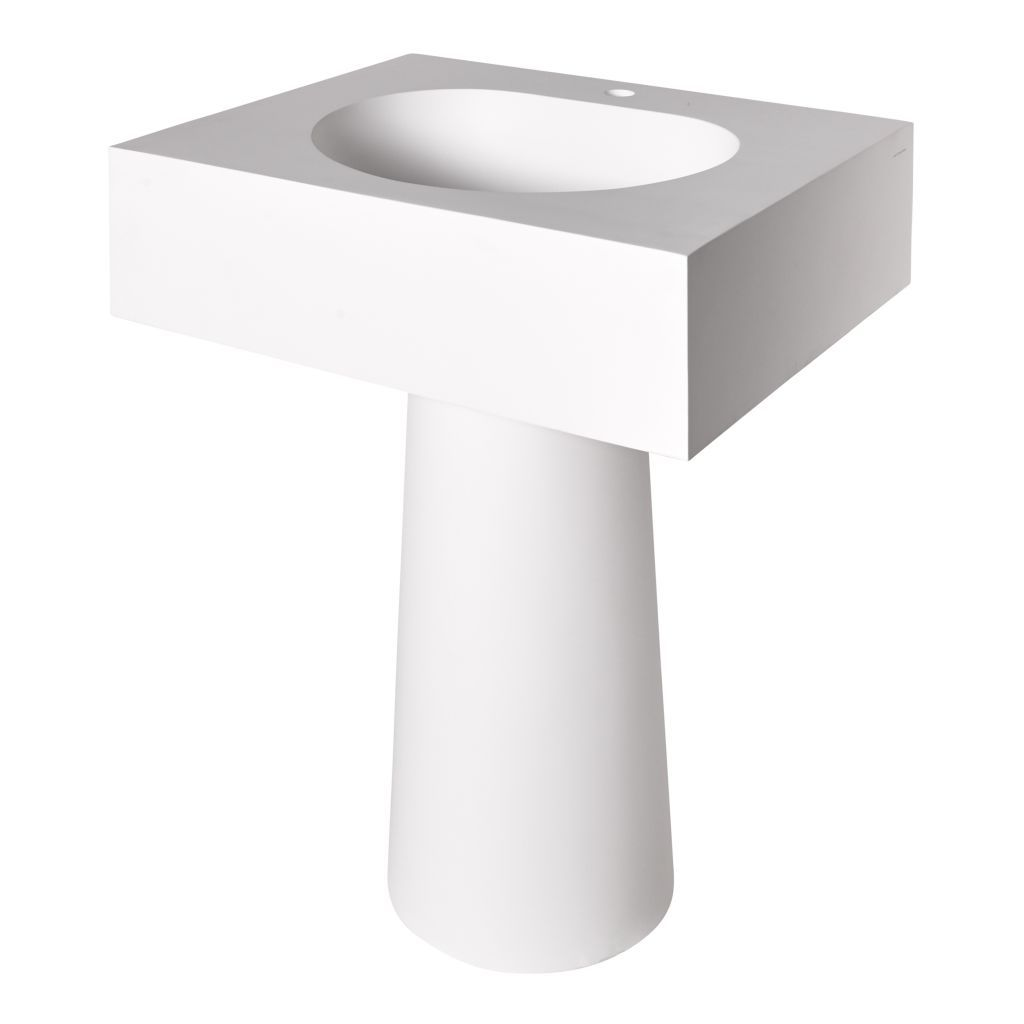 Formwork Lithic Single Pedestal Sink For One Hole Faucet 28 X 22