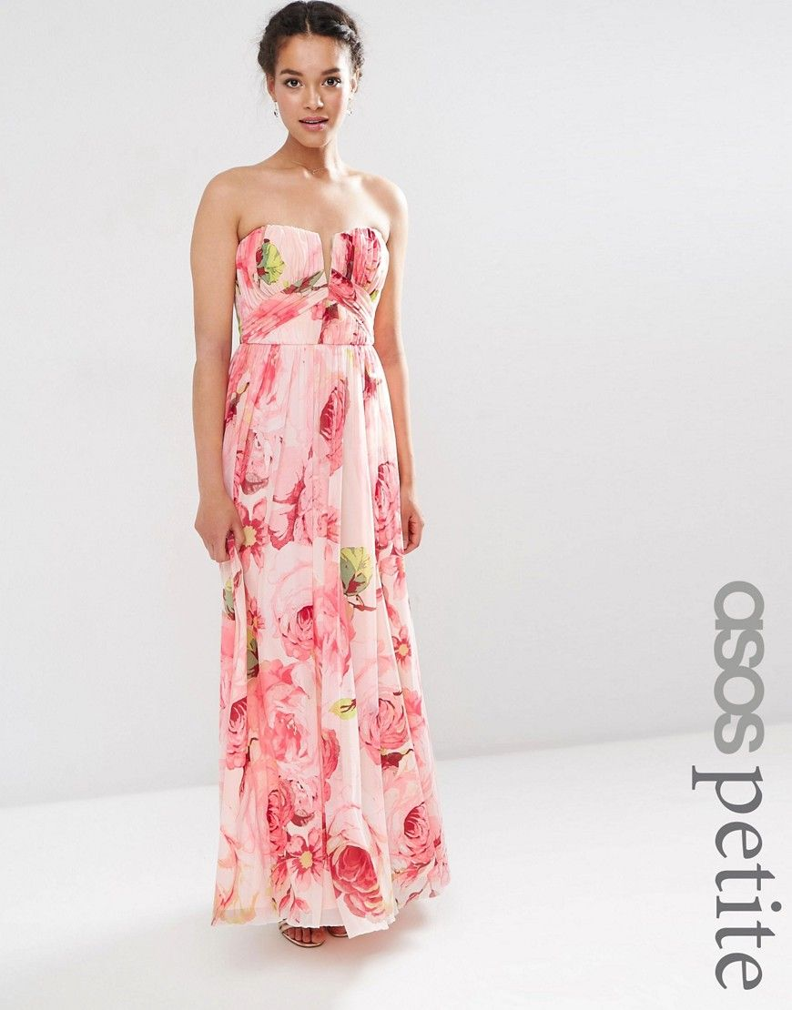 ASOS PETITE WEDDING Floral Printed Rouched Bandeau Mesh Maxi Dress ...