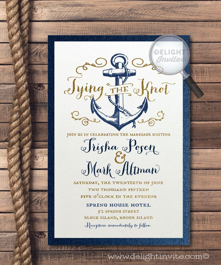 Rustic Anchor Tie The Knot Wedding Invitation Nautical Wedding Nautical Wedding Invitations Nautical Wedding Theme