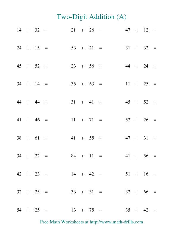 Addition Worksheet  TwoDigit Addition  Horizontal  No