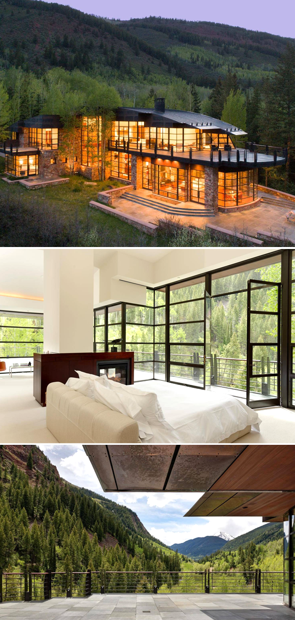 Modern Home Design With Steel Windows Glass Wall And Stunning Views Of The Snow Capped Mountain And Rivers Glass House Design House Exterior Modern Glass House