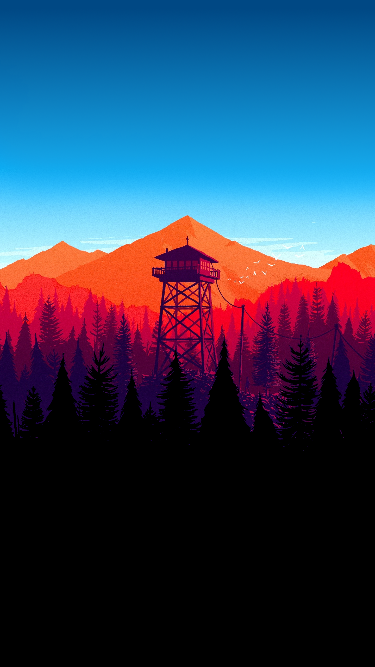 Firewatch Tower With Blue Skies X Post From R Amoledbackgrounds Dark Phone Wallpapers Background Hd Wallpaper Minimalist Wallpaper