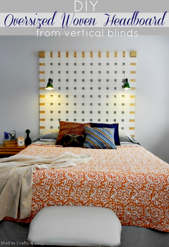 DIY Oversized Woven Headboard From Vertical Blinds With Clamp Reading Lights