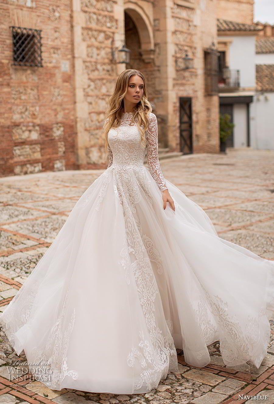 fb406f44c37 naviblue 2019 bridal long sleeves illusion bateau straight across neckline heavily  embellished bodice romantic a line wedding dress covered lace back royal ...