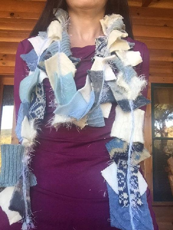 Blue and White Upcycled Sweater Scarf by Pinelogprimitive on Etsy