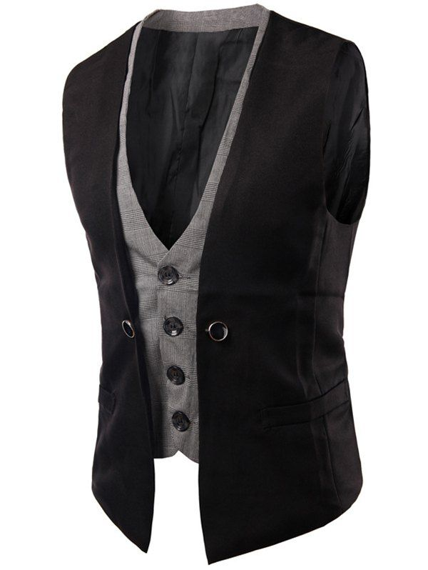 26f717694a4 Single Breasted Buckled Plaid Insert Waistcoat in 2018