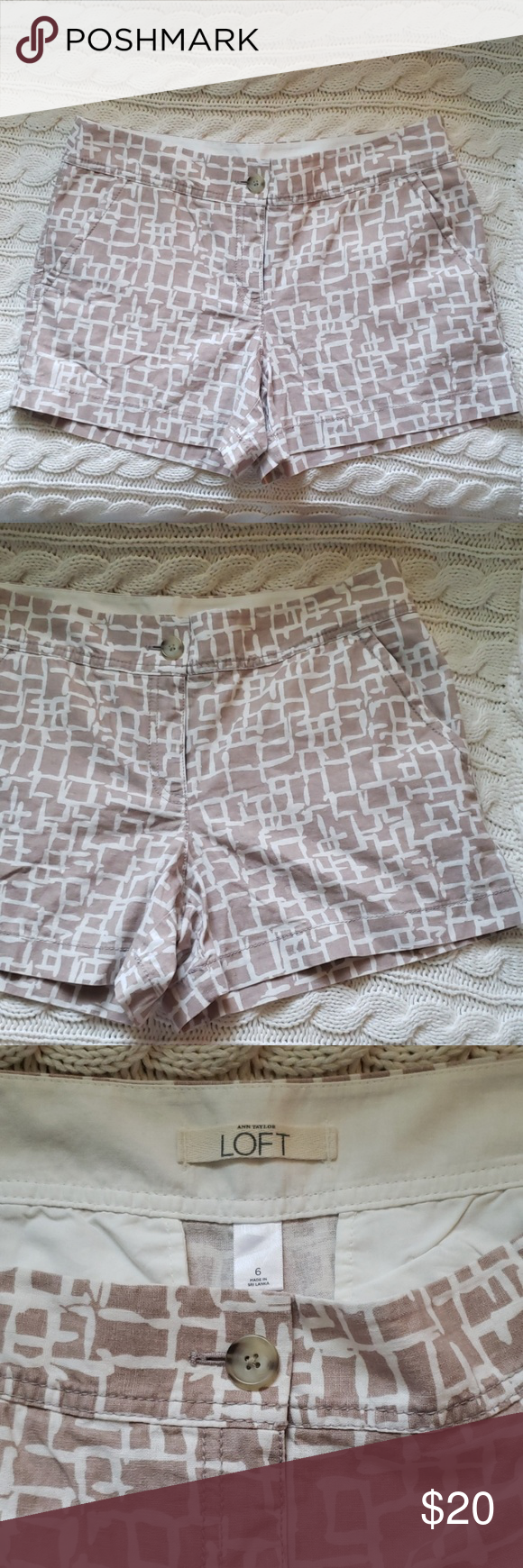 50% off bundles! Loft brown & off-white shorts New with tags light brown and off-white geometric print linen/cotton blend shorts from the Loft in women's size 6. LOFT Shorts #loftclothes