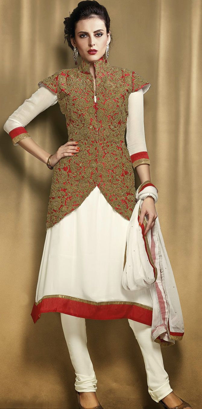 #Jacket-Style Chuirdar #Suit In #OffWhite color