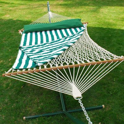Algoma Net Company Cotton Rope Hammock with Hanging Hardware, Hammock Pad and Coordinating Pillow