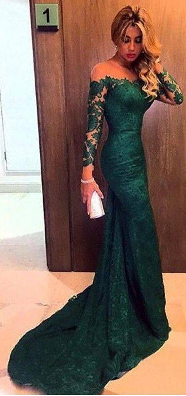Green lace ball gown, long sleeve fishtail party | Wedding ...