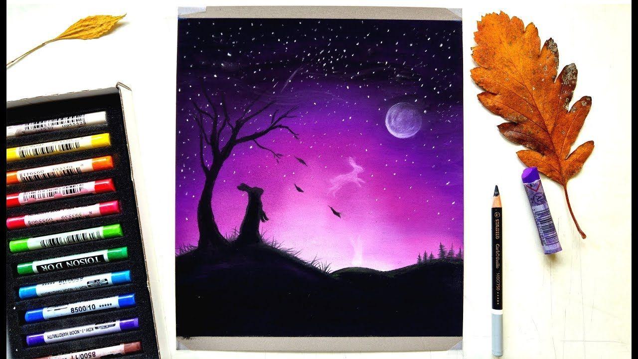 Drawing Time Lapse: A purple night sky | Leontine van ...