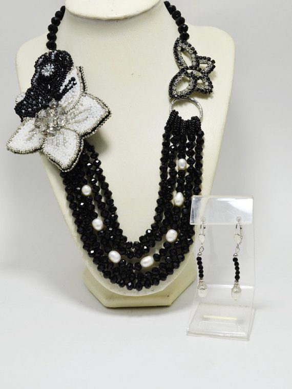 Black  White Statement Multi Strand Necklace in Boho style with a Flower and Butterflies, Beading Necklace, Holiday Necklace, Gift for Her