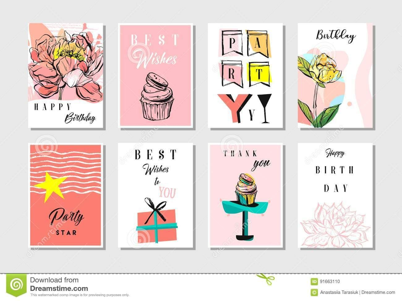 Hand Drawn Vector Abstract Textured Unusual Artistic Collage Happy Intended For Birthday Card Collage Templat Note Card Template Collage Template Card Template
