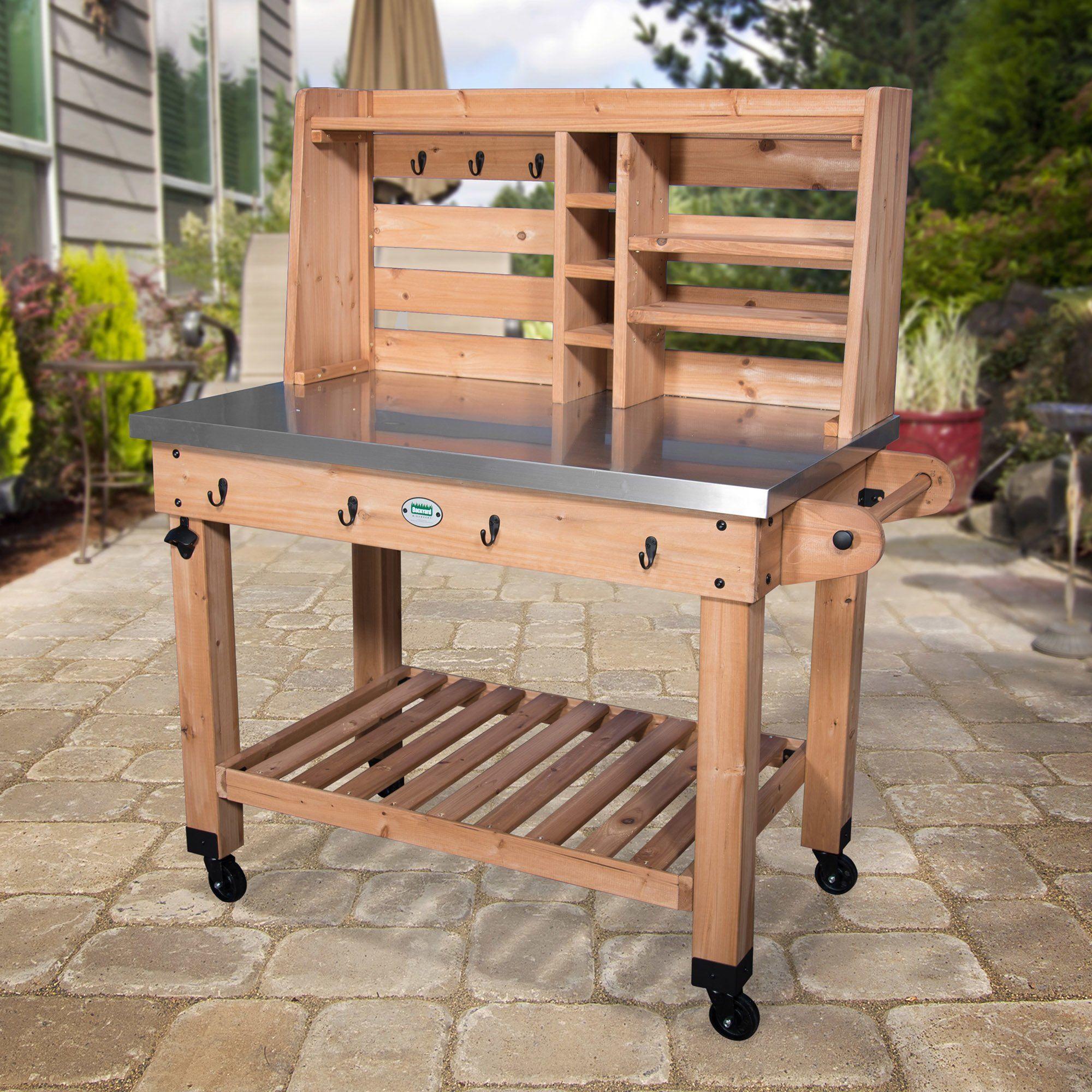 Superb Backyard Discovery All Cedar Bar Serving Cart