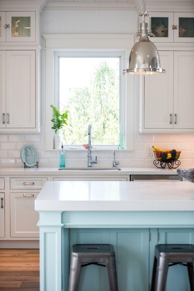 Coastal White Kitchen With Turquoise Island Http://www