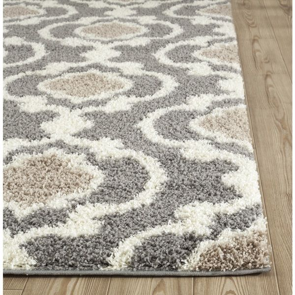 Cozy Moroccan Trellis Gray Cream Indoor Shag Area Rug 53 X 7