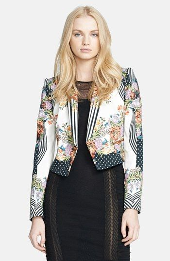 Just Cavalli Border Print Crop Jacket available at #Nordstrom