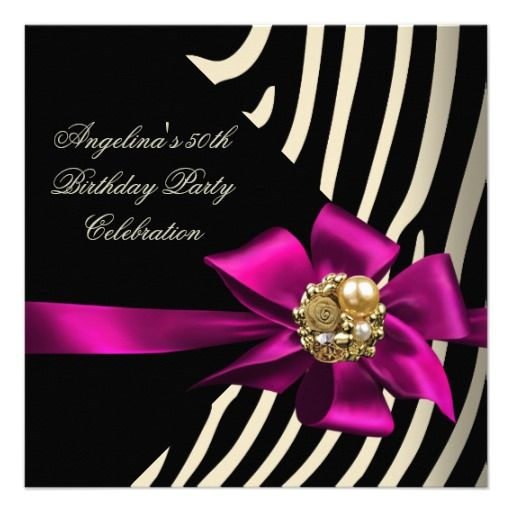 50th Zebra Pink Gold Cream Black Birthday Party Invite online after