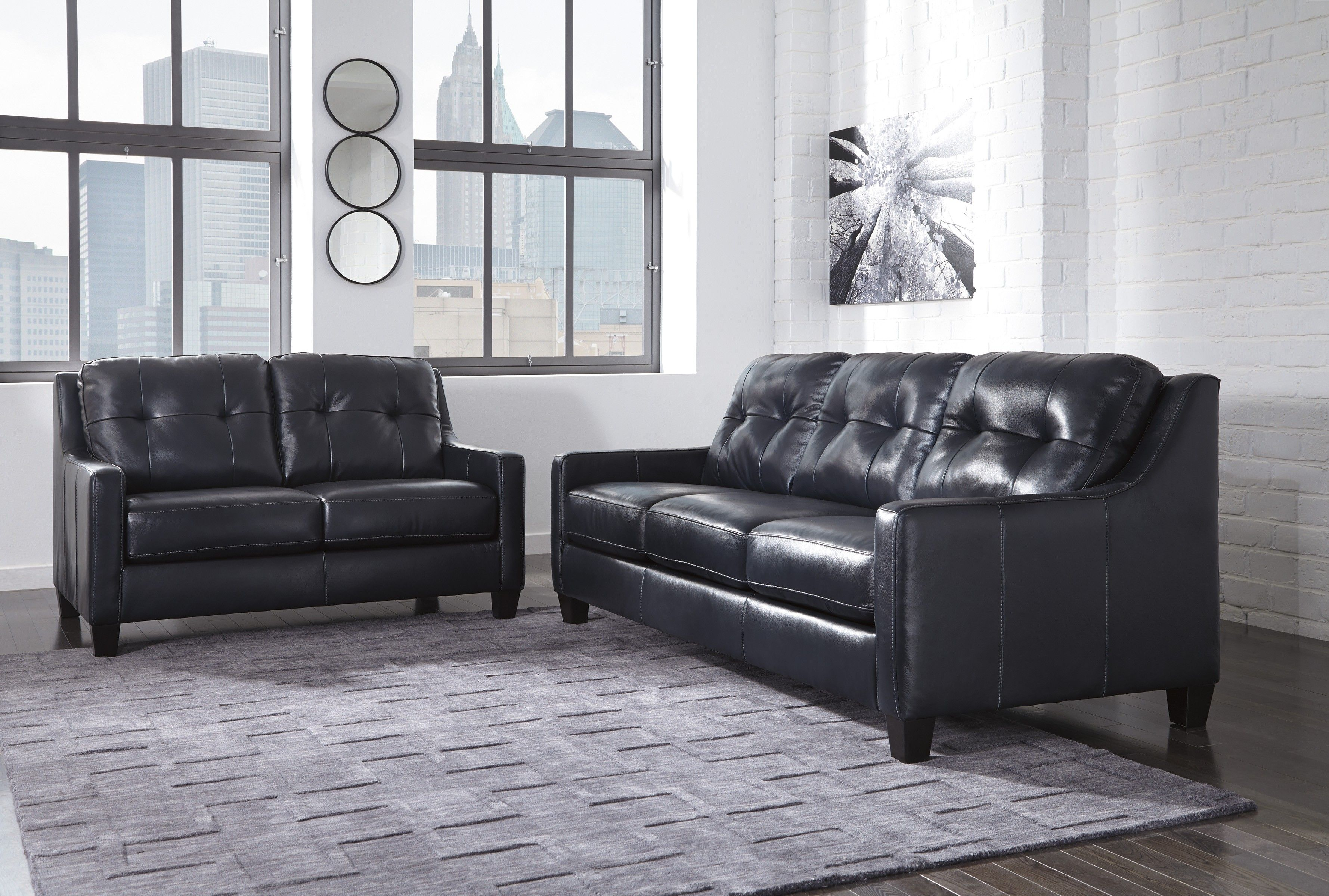 Navy Leather Sofa (With images) | Cheap living room sets ...