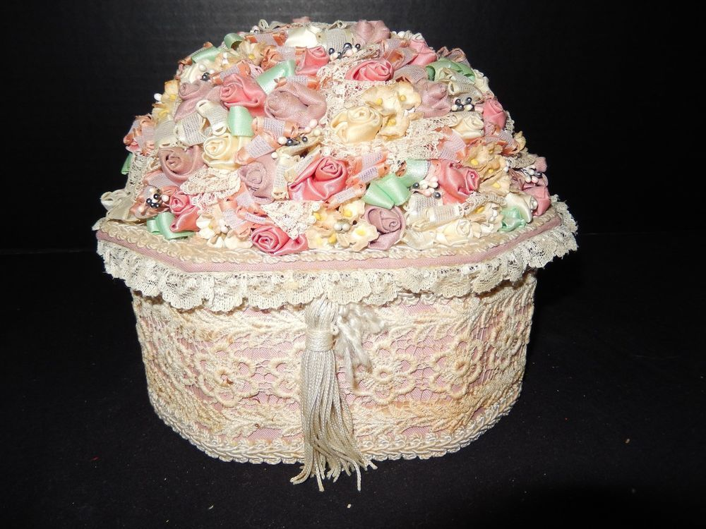 Lace Satin Dresser Top Trinket Box Jewelry Organizer Keepsake Storage Container