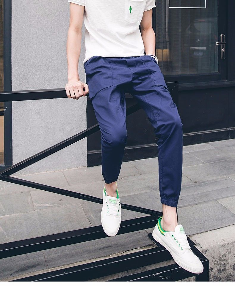 F233 2017 New Style Fashion Straight Slim Men Cotton Leisure Long