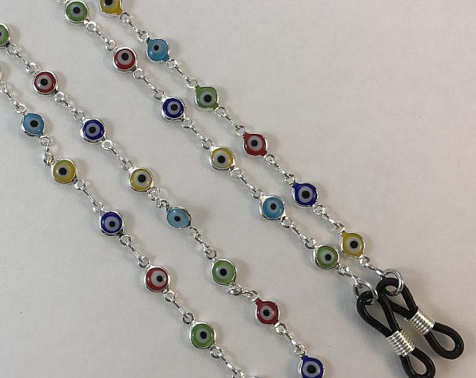 EVIL EYE BEADS FLOWERS EYEGLASS HOLDER READERS CHAIN NECKLACE LOBSTER CLASPS