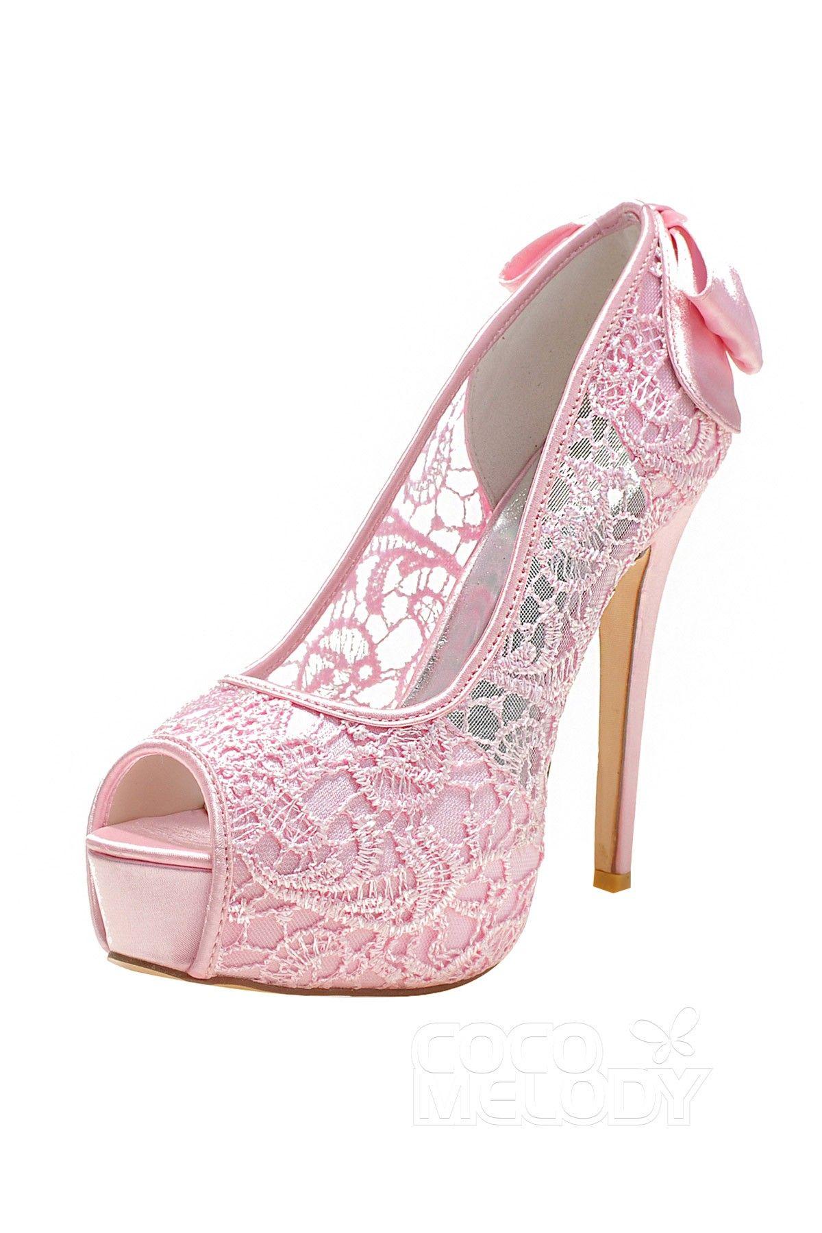 52e44b54a81d Stiletto Heel 12.7cm Heel 2.8cm Platform Lace Bowknot Peep Toe Bridal Shoes  SWS16018  weddingshoes  weddingessentials  weddingaccessories  cocomelody