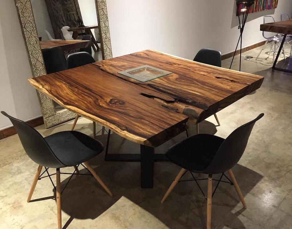 Square Live Edge Dining Table Solid Wood W Metal Base Unique