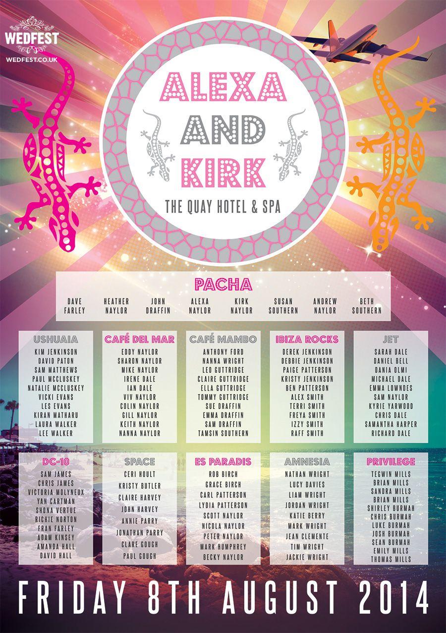 Ibiza Nightclub Themed Wedding Seating Plan | WEDFEST -http://www ...