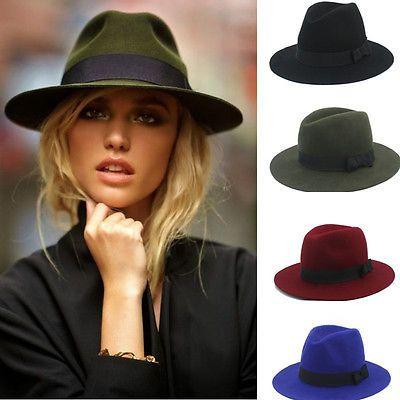 67d04bbc015 100% Wool Women Men Floppy Wide Brim Winter Autumn Trilby Bowknot Fedora Hat