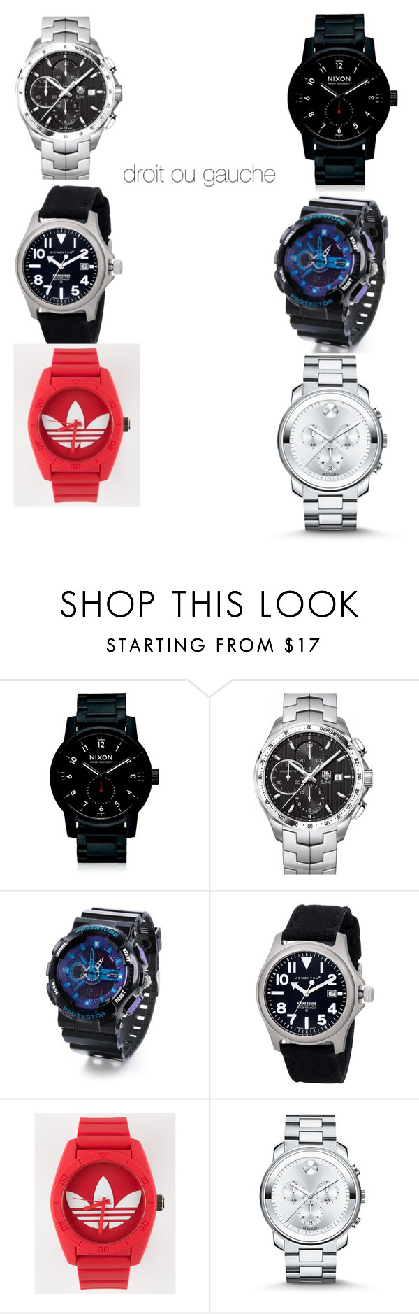 """""""Untitled #28"""" by kumcurlorin95 ❤ liked on Polyvore featuring Nixon, TAG Heuer, Momentum by St. Moritz, adidas and Movado"""