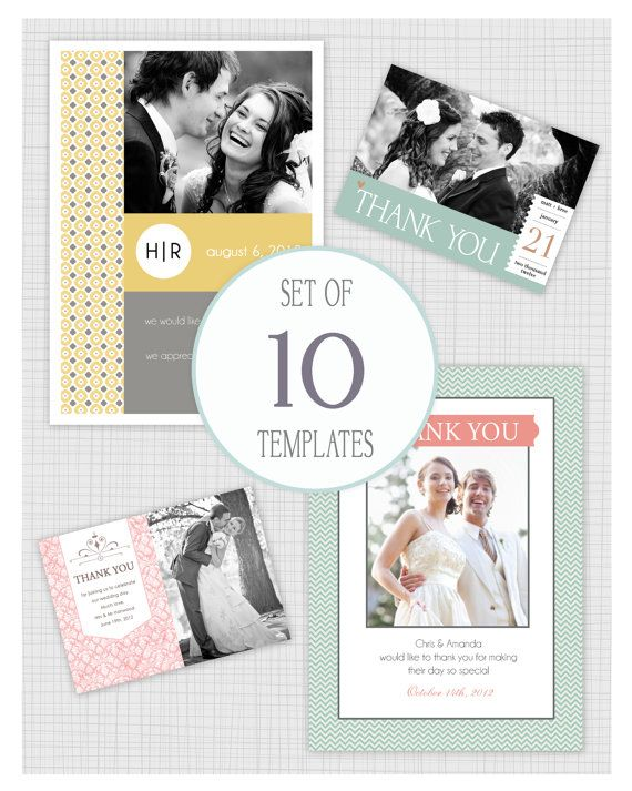 INSTANT DOWNLOAD 10 PSD Wedding thank you card templates Mini - business thank you card template