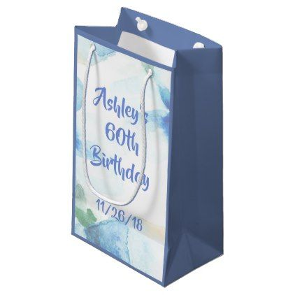 Floral Watercolor 60th Birthday Small Gift Bag