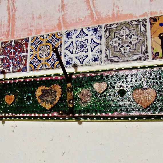 Boho Wall Rack Mexican Art Decor Decorative Vintage Hooks Clothes Hanger Bohemian Gypsy Entryway Storage Hippie