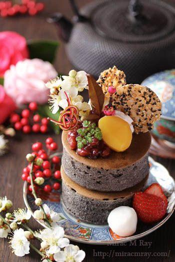 Japanese Style Extra Thick Black Sesame Pancakes 和風黒ゴマ厚焼きホットケーキ