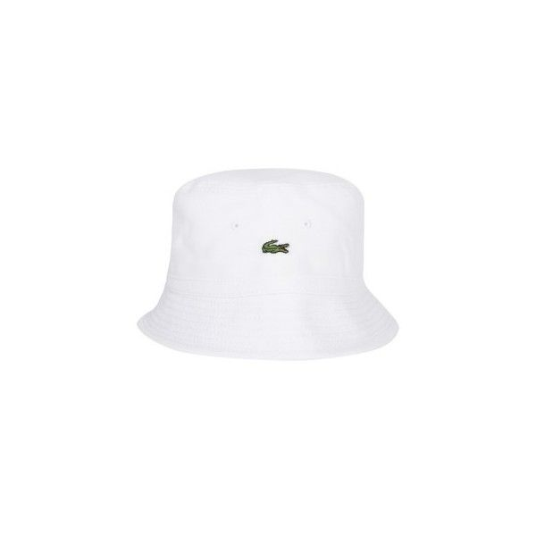 048d100d13ca Lacoste White Logo Bucket Hat (€51) ❤ liked on Polyvore featuring  accessories