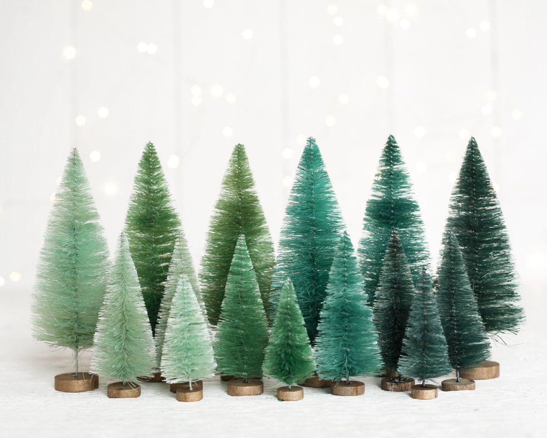 Spruce Forest Bottle Brush Tree Set 15 Mixed Size Green Sisal Christmas Trees Bottle Brush Trees Green Christmas Tree Decorations Green Christmas Tree