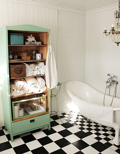 Decor N Tile Delectable Checkered Floor Pastel Green Dresser  Black N' White Floor Inspiration