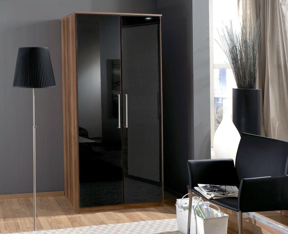 Lorenzo - Black Gloss and Walnut 2 Door Wardrobe Bedroom ...